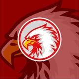 Eagle Head met Rode Achtergrond Logo Vector Design, Teken, Pictogram, Illustratie vector illustratie