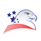 Eagle head outline vector illustration in american flag colors Royalty Free Stock Image