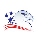 Eagle head outline vector illustration in american flag colors Stock Photos