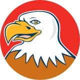 Eagle Head Smiling Circle Cartoon calvo americano Fotografia Stock