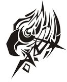 Eagle head symbol with an arrow. Tribal peaked eagle head symbol fire concept. Black on white Stock Images