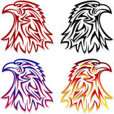 Eagle Head Symbol Emblem Tattoo schetst Zwart Rood Royalty-vrije Stock Afbeelding