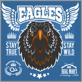 Eagle head - T-shirt print with hunting club on dark background - Hunting Club Template. Stock Images