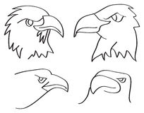 Eagle Heads Closeup Line Art Vector Illustration. Line art vector illustration of heads of eagles in side view and three-quarter view  on white background Stock Images