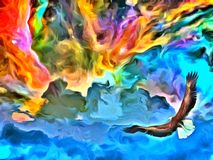 Eagle in heavens painting Royalty Free Stock Images