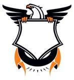 Eagle heráldico com protetor e fita Imagens de Stock Royalty Free