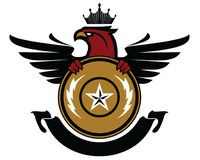Eagle heráldico con el escudo y la cinta ilustración del vector