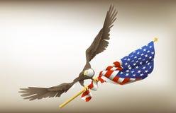 Eagle Holding Flag Stock Photography