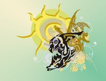 Eagle-horse symbol against the ornate sun Royalty Free Stock Image