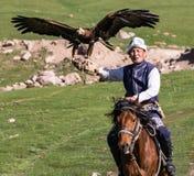 Eagle Hunter rymmer hans örnar på hästrygg, ordnar till för att ta flyg Royaltyfria Bilder