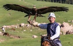 Eagle Hunter rymmer hans örnar på hästrygg, ordnar till för att ta flyg arkivbilder