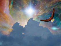 Eagle i fantasiflyg Arkivbild