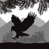 Eagle Icon Fond de paysage Dessin de vecteur Image libre de droits