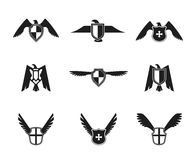 Eagle Icon Shield Set Stockbilder