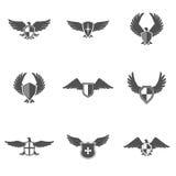 Eagle Icon Shield Set Fotos de archivo