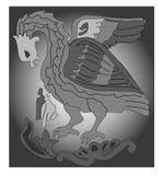 Eagle illustration. Old abstract illustration of eagle in grey tones stock illustration