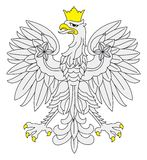 Eagle illustration used outline border with yellow color Stock Image