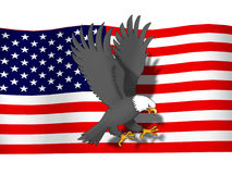 Eagle infront USA flag Royalty Free Stock Photography