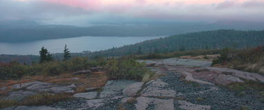Eagle Lake Dawn, Acadia. Dawn over Eagle Lake, captured from Cadillac Mountain in Acadia National Park, Maine stock photo