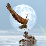 Eagle landing on balanced stones - 3D render. Eagle landing on balanced stones by day with full moon and rainbow - 3D render Royalty Free Stock Photos