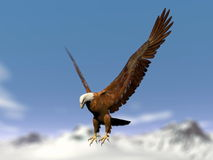 Eagle landing over snowy mountain - 3D render. Beautiful eagle flying over the snowy mountain by cloudy winter day. Blurry effect for mountains Stock Photos