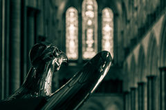Eagle Lectern in Salisbury Cathedral. Shallow depth of field black and white split toning photography stock photos