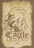 Eagle legend. Vector illustration of an eagle print on a distressed paper textured background Stock Photography