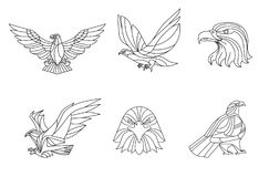 Eagle, ligne vecteur, signe et symbole, illustration de vecteur Photo libre de droits