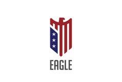 Eagle loga abstrakcjonistycznego projekta wektorowa osłona jastrząbek Obrazy Royalty Free
