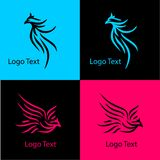 Eagle, logo abstrait de société avec le divers style illustration libre de droits