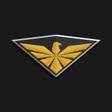 Eagle Logo Icon Design L'aigle stylisé répand ses ailes sur un bouclier Images libres de droits
