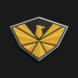 Eagle Logo Icon Design L'aigle stylisé répand ses ailes sur un bouclier Image stock