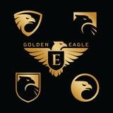 Eagle logo set. Set of golden eagle logo design templates. Vector illustration stock illustration
