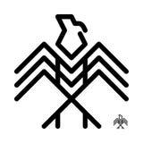 Eagle logo som är dekorativ, symbol som är linjär, Arkivbild