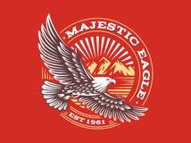 Eagle logo - vector illustration, emblem on red background. Eagle logo - vector illustration, emblem design on red background royalty free illustration