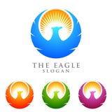 Eagle logoemplate, falk, design för hökvektorlogo Royaltyfri Fotografi