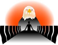 Eagle man. Vector illustration for a business man as a leader is like a eagle, metaphors Stock Images