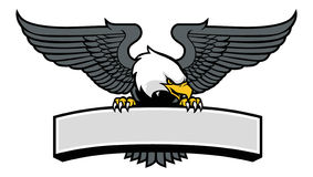 Eagle mascot griping the sign stock illustration