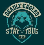 Eagle Mascot Grunge Emblem Template royalty illustrazione gratis