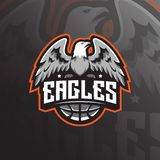 Eagle mascot logo design vector with modern illustration concept style for badge, emblem and tshirt printing. angry eagle stock illustration