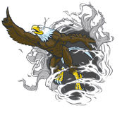 Eagle Mascot Ripping Out Background calvo muscolare Immagine Stock