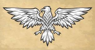Eagle maskotki rozszerzania się skrzydła ilustracyjny lelui czerwieni stylu rocznik Zdjęcie Stock