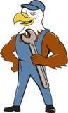 Eagle Mechanic Spanner Cartoon calvo americano Fotografia Stock Libera da Diritti