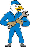 Eagle Mechanic Spanner Cartoon calvo americano Fotografia Stock