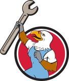 Eagle Mechanic Spanner Circle Cartoon calvo Immagine Stock Libera da Diritti