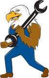 Eagle Mechanic Wrench Cartoon calvo americano Immagini Stock Libere da Diritti