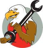 Eagle Mechanic Wrench Circle Cartoon calvo americano Fotografia Stock