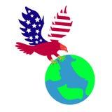 Eagle med jordklotet vektor illustrationer