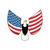 Eagle mit Flügeln der amerikanischen Flagge Nationales Sonderzeichen USA Patriotischer Vogel Lizenzfreie Stockfotos