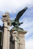 Eagle monument from Buda Castle in Budapest. Entry facade of Buda Castle with Bronze winged Eagle Royalty Free Stock Photo